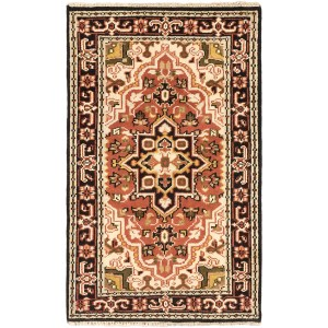 ecarpetgallery Hand-knotted Royal Heriz Brown Wool Rug (3' x 4'11)