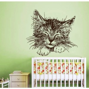 Cat Wall Decals Vinyl Stickers Pets Animals Home Interior Art Mural Nursery Room Decor Sticker Decal size 44x52 Color Black
