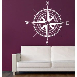 Rose Compass Vinyl Sticker Home Decor Art Murals Bedroom Interior Design Art Mural Sticker Decal size 22x22 Color White