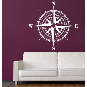Rose Compass Vinyl Sticker Home Decor Art Murals Bedroom Interior Design Art Mural Sticker Decal size 22x22 Color Black