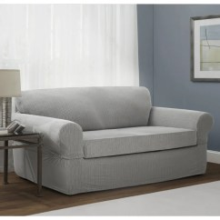Sure Fit Stretch Metro 1 Piece Sofa Slipcover Gray Chenille Fabric Care 2 Slipcovers Leather T ...