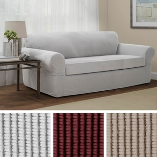 sofa chair cover big bean bag chairs walmart buy couch slipcovers online at overstock com our best maytex connor grid stretch 2 piece furniture slipcover