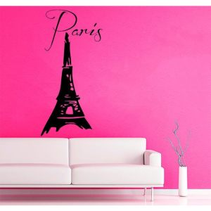 Eiffel Tower Paris Wording France Dream Interior Home Decor Art Murals Girl Kids Room Decor Sticker Decal size 48x65 Color Black