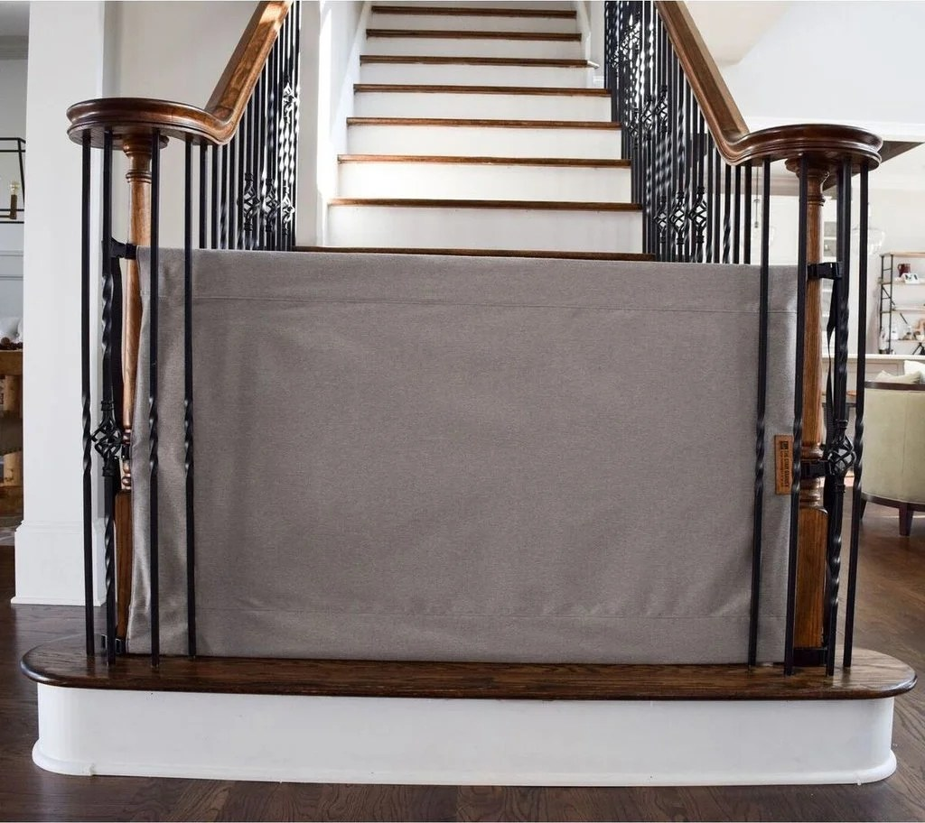 Shop The Stair Barrier Basic Grey Banister To Banister Basic Wide   Grey And White Banister   Green White   Staircase   Gray Stained   Fixed Wall Painted   Light Grey Grey