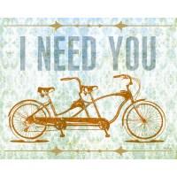 Shop Wheatpaste Tandem Bike I Need You Stretched Canvas ...
