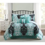 Studio 17 Downton 7 Piece Comforter Set Black Grey Aqua On Sale Overstock 14723323