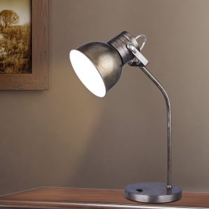 21.5-inch Rust Brushed Steel Metal Table Lamp in a Modern Task Lamp Style