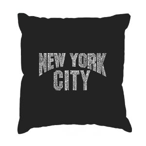 LA Pop Art 'NYC Neighborhoods' Black Cotton 17-inch Throw Pillow Cover