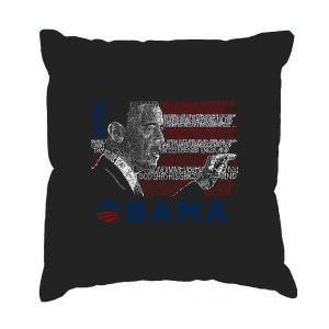 LA Pop Art 'Barack Obama - All Lyrics to America the Beautiful' Black Cotton 17-Inch Throw Pillow Cover