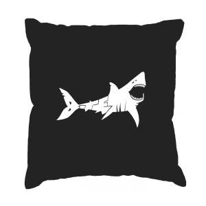 LA Pop Art 'Bite Me' Black Cotton 17-inch Throw Pillow Cover