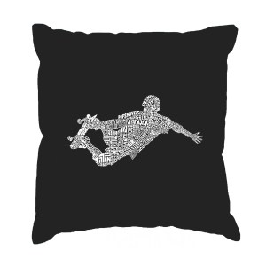 LA Pop Art 'Popular Skating Moves and Tricks' Black Cotton 17-inch Throw Pillow Cover