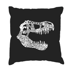 LA Pop Art T-Rex Cotton 17-inch Throw Pillow Cover