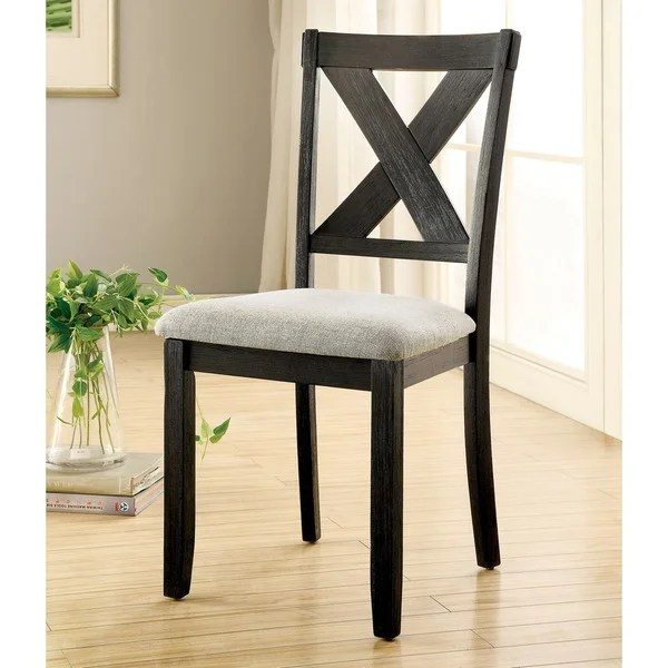 x back chairs chair covers yes or no shop furniture of america dasni transitional fabric brushed black dining set