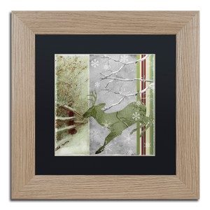 Color Bakery 'Country Xmas Deer' Matted Framed Art - Brown