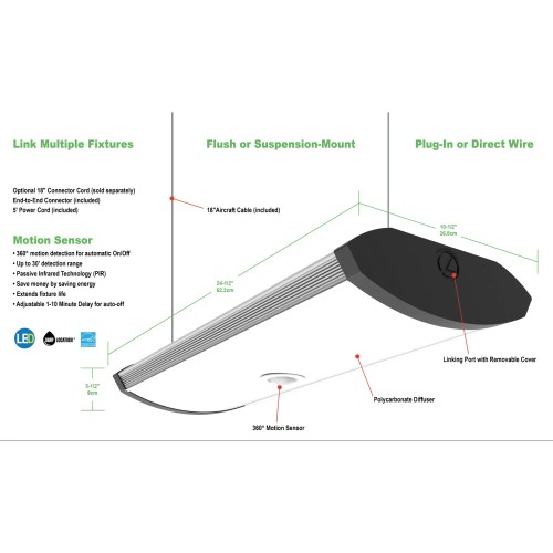 small resolution of shop lithonia lighting 2 foot black indoor led garage light with integrated motion sensor free shipping today overstock 14792250