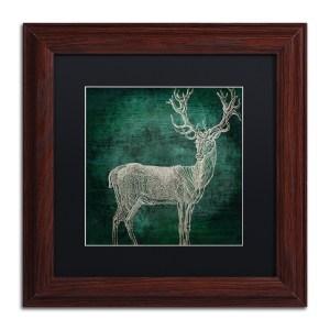 Color Bakery 'Emerald Deer' Matted Framed Art