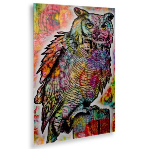 Dean Russo 'Owl Perch' Floating Brushed Aluminum Art
