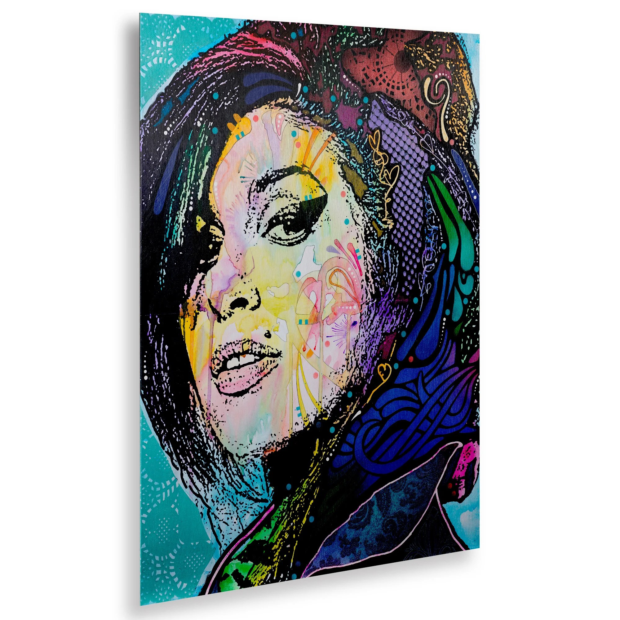 Dean Russo 'Amy Winehouse' Floating Brushed Aluminum Art