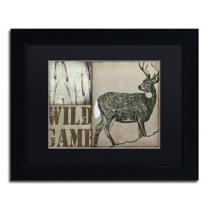 Color Bakery 'Deer with White Tail' Matted Framed Art - Black