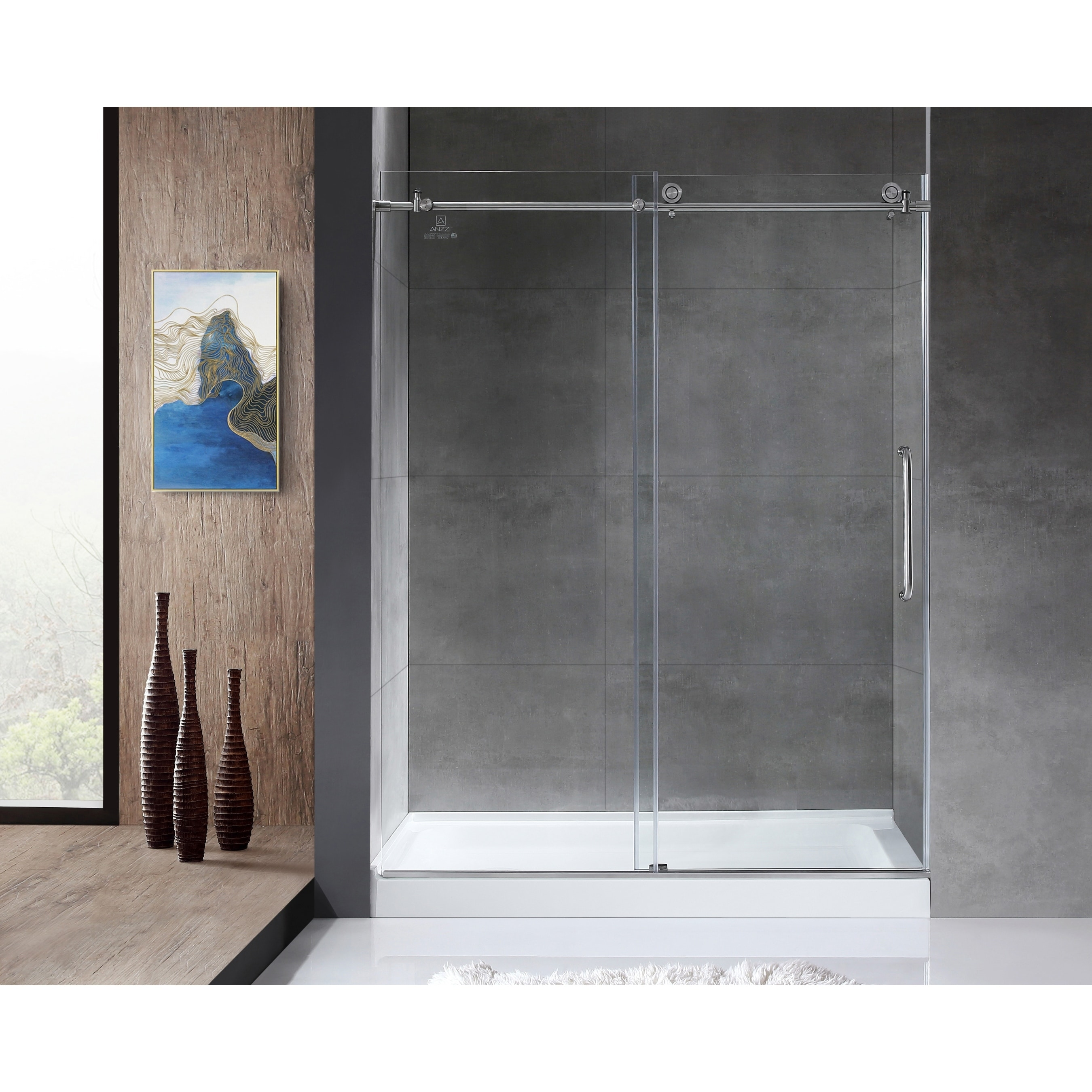 Anzzi Madam 48 X 76 Frameless Sliding Shower Door In Brushed Nickel