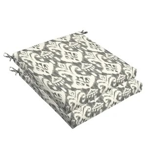 Solid Gray Textured Outdoor Tufted Seat Cushions (Set of 2