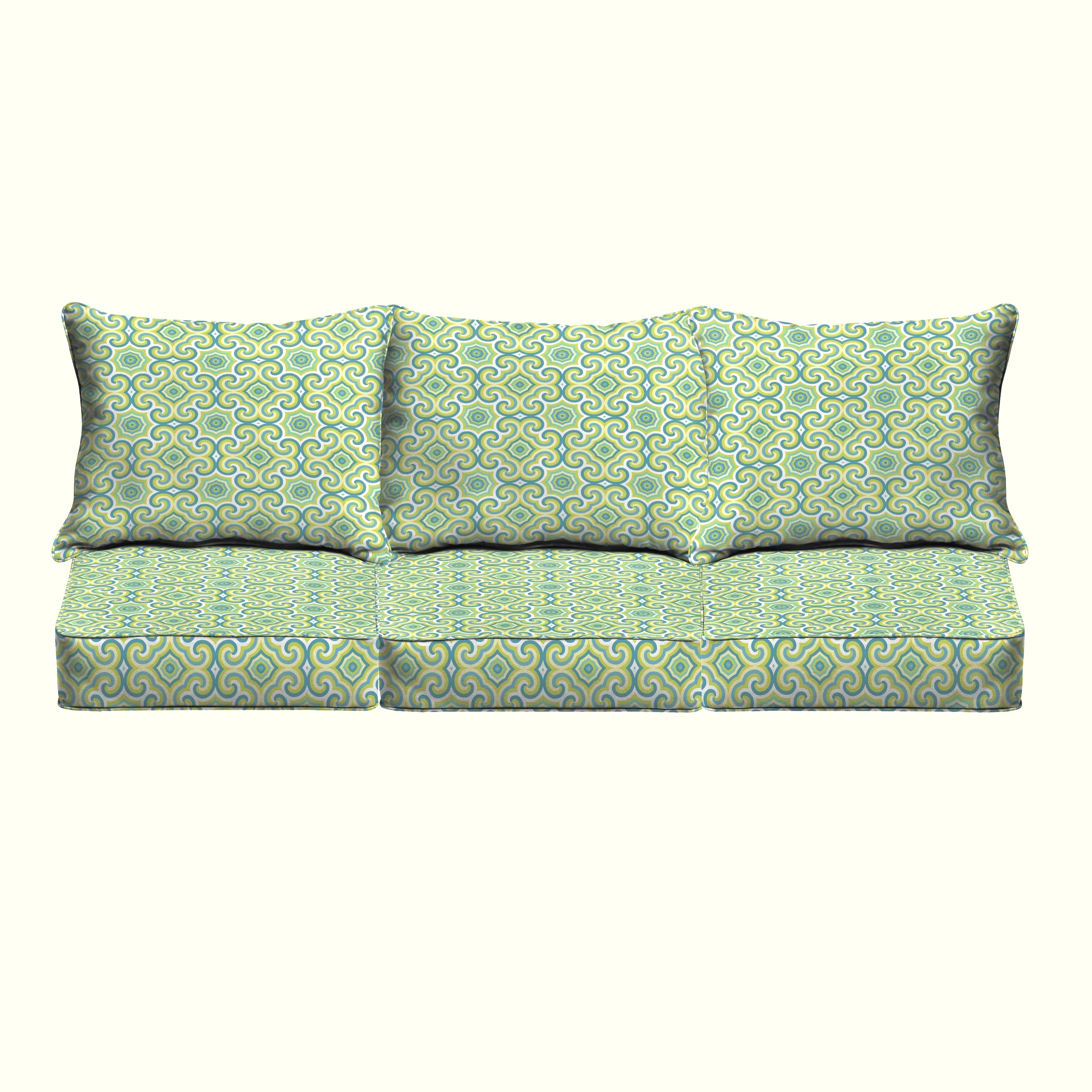 Shop Oliver Lime Green Aqua Indoor Outdoor Corded Pillow And Cushion 6 Pc Sofa Set Overstock 15029430