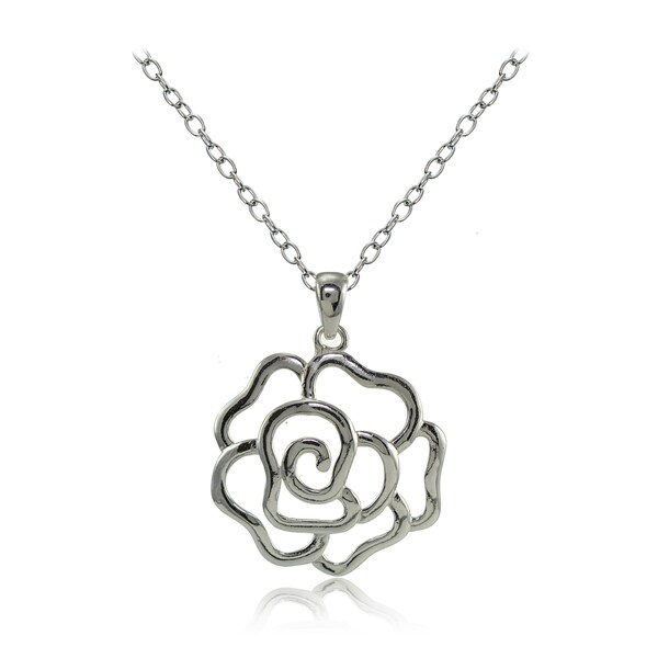 Shop Mondevio Sterling Silver High Polished Open Rose
