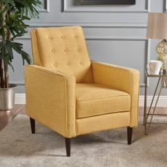Yellow Club Chair Kitchen Chairs Wood Mervynn Mid Century Button Tufted Fabric Recliner