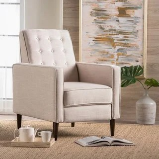fabric living room chairs brown color palette for buy recliner rocking recliners online at overstock com mervynn mid century button tufted club chair by christopher knight home