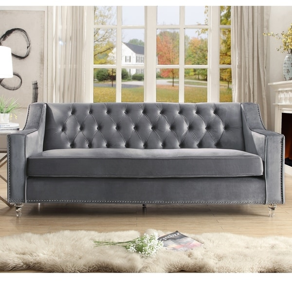 tufted button sofa pet protector uk shop webster velvet with lucite acrylic legs on