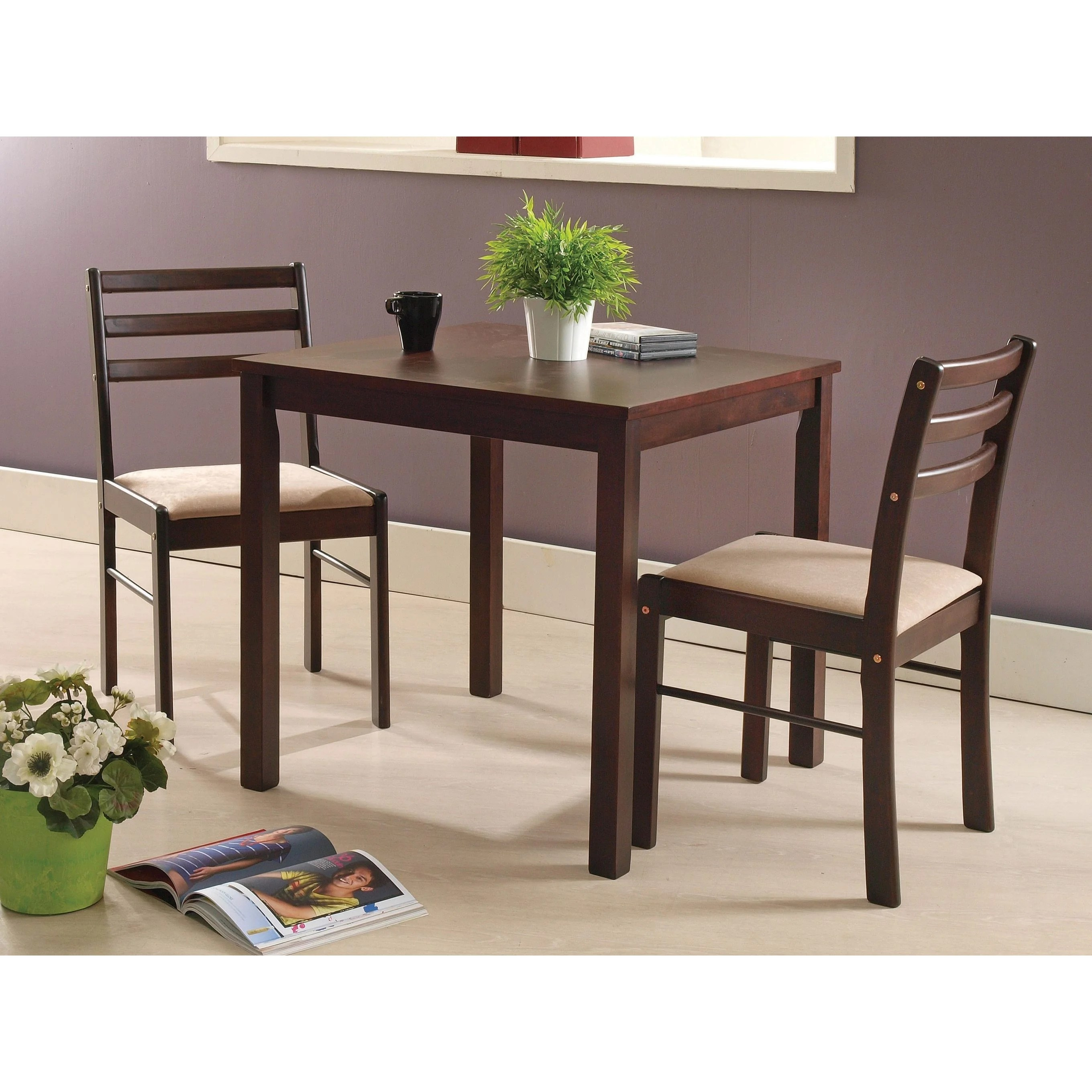 Table With Two Chairs Details About Dining Room Set Espresso Wood 3 Piece Dinette Table Two Chairs Brown Fabric