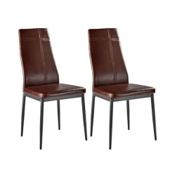 Leather Kitchen Chairs High Back Modern Chair Shop Dark Brown Metal Frame Faux And Dining Side Set Of 4