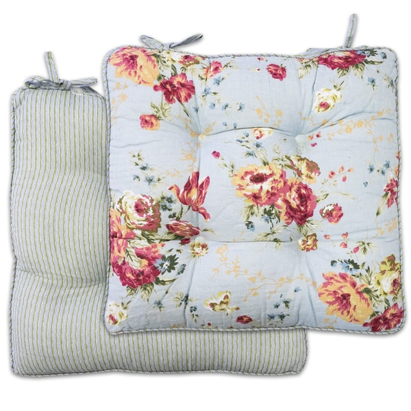 chair cushions with tie backs co design office chairs shop captiva light blue 16 inch x pad pair tiebacks set of 2 free shipping on orders over 45 overstock com 15053991