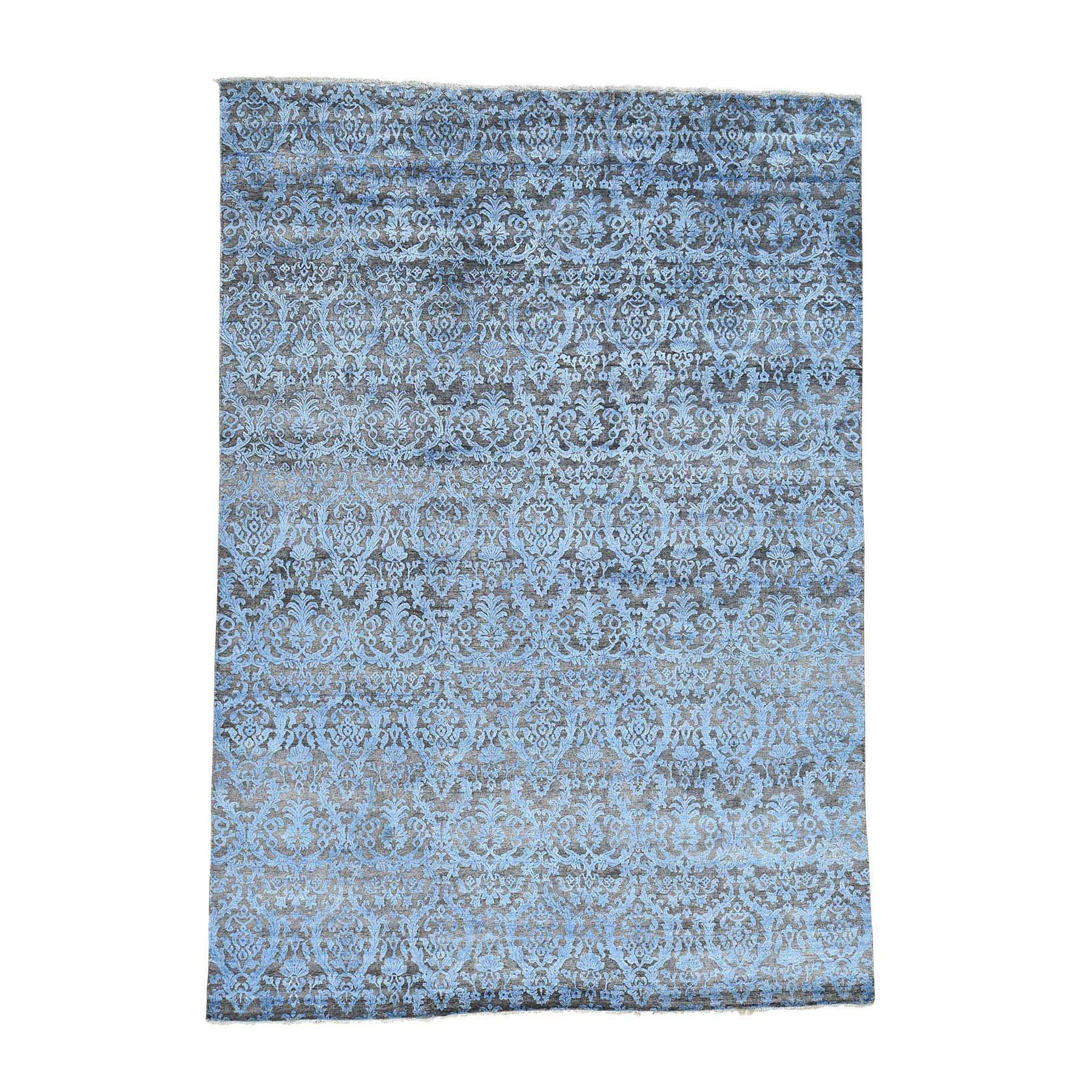 Shahbanu Rugs Blue/ Brown Wool and Silk Hand-knotted Hi-Lo Damask Area Rug (8' x 9'9)