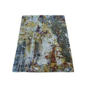 Shahbanu Rugs Multicolored Abstract Wool/Silk High/Low Pile Hand-knotted Area Rug(2'x3') - Multi