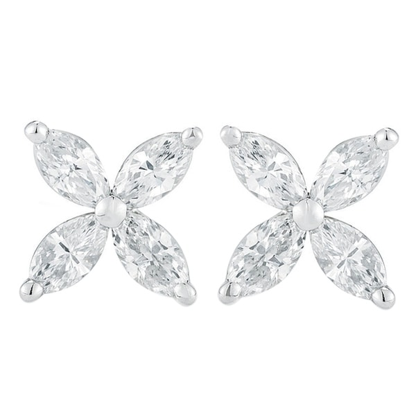 Shop 14K White Gold 1.00 ct.TDW Marquise-cut 4-stone