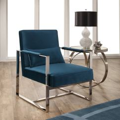 Teal Colored Chairs Small Beach Shop Abbyson Sloan Blue Velvet Accent Chair With Silver Metal Base