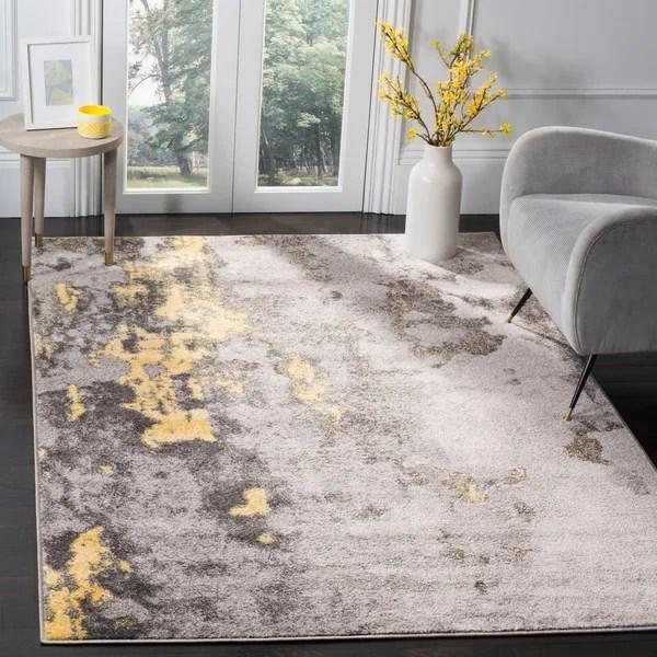 yellow area rug living room shelving for shop safavieh adirondack modern abstract grey 5 x27 1