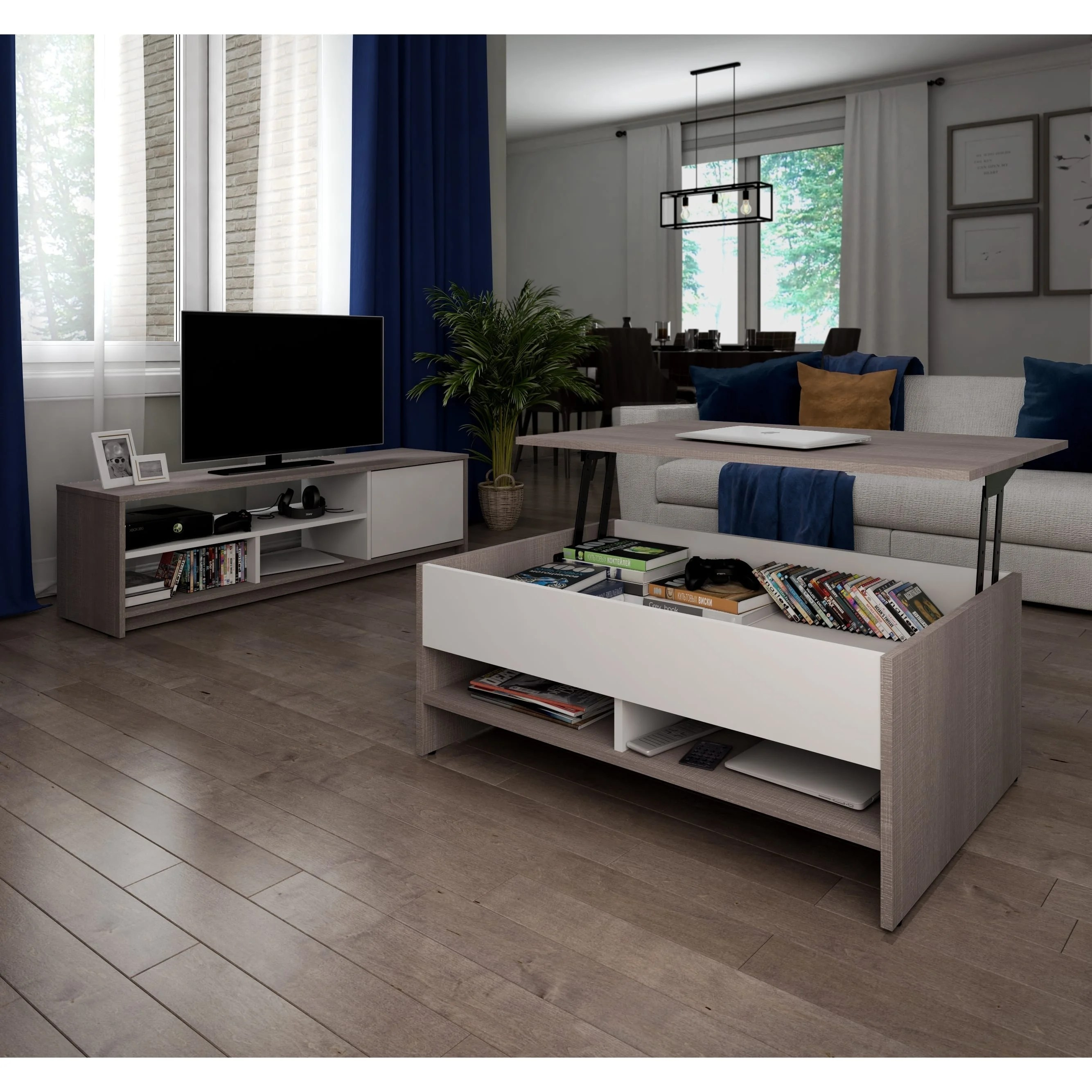bestar small space 2 piece lift top storage coffee table and tv stand set