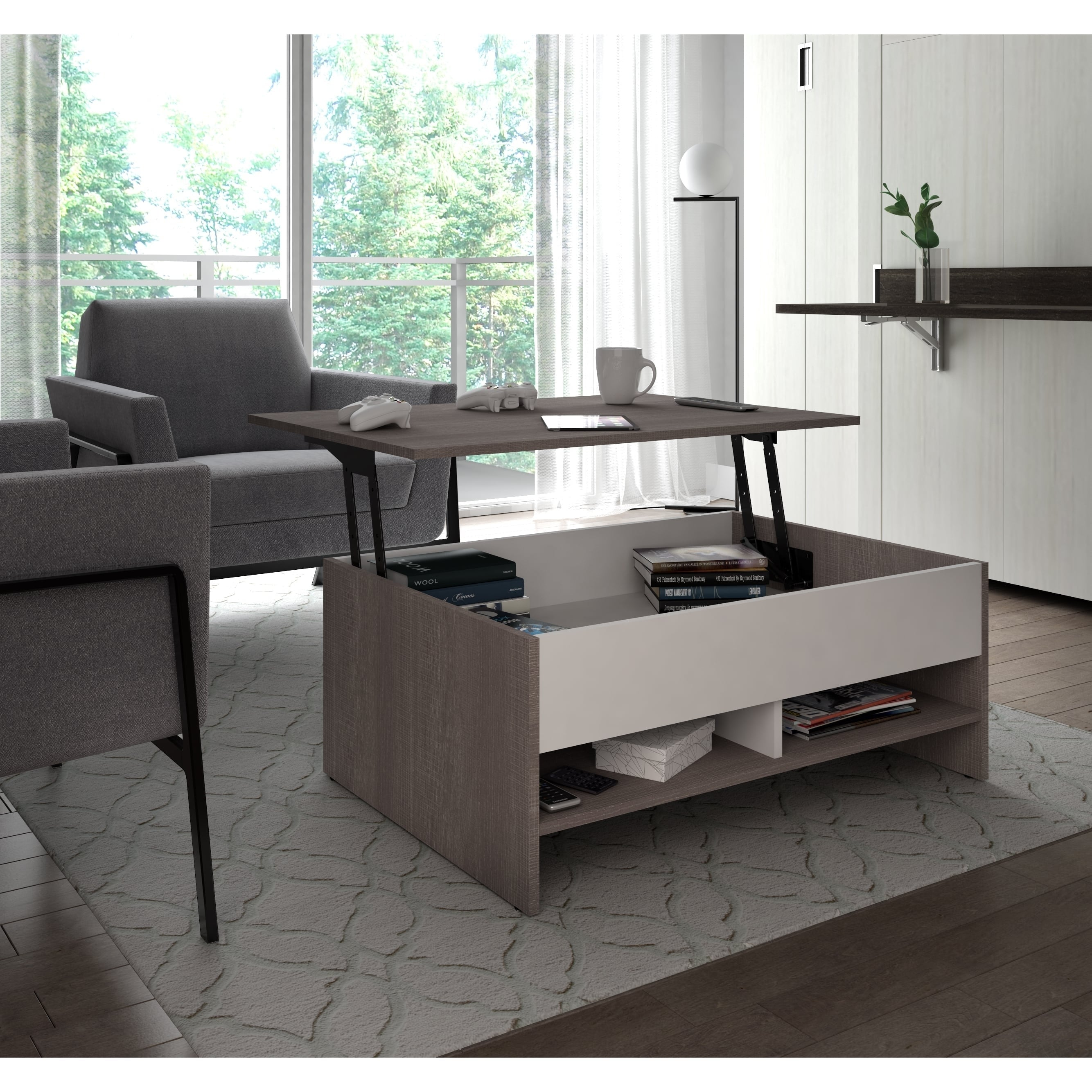 bestar small space 37 inch lift top storage coffee table