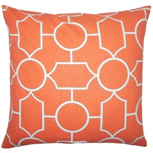 "Samoset Geometric 22"" x 22"" Down Feather Throw Pillow Papaya"
