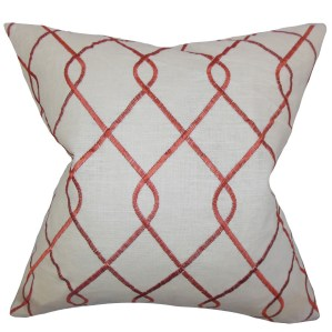 "Jolo Geometric 24"" x 24"" Down Feather Throw Pillow Rosewood"