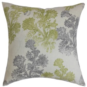 "Eara Floral 24"" x 24"" Down Feather Throw Pillow Moss"