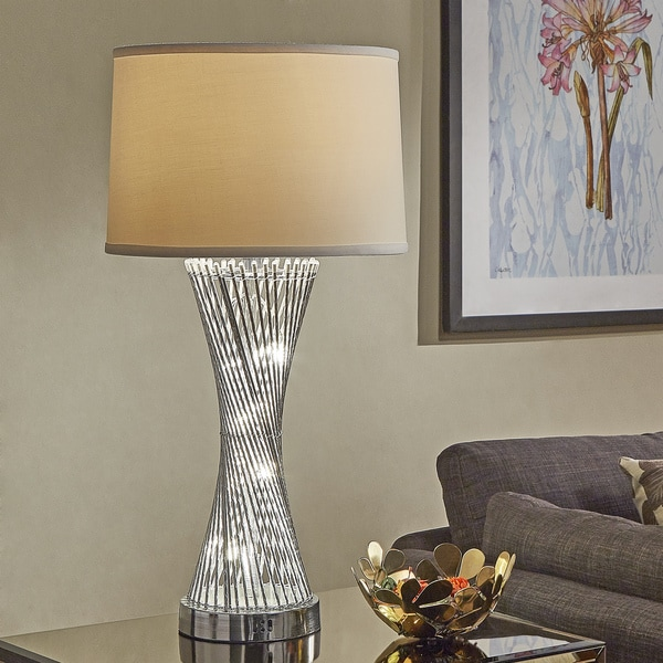 Shop Aquila Round Base Caged Table Lamp With LED Night