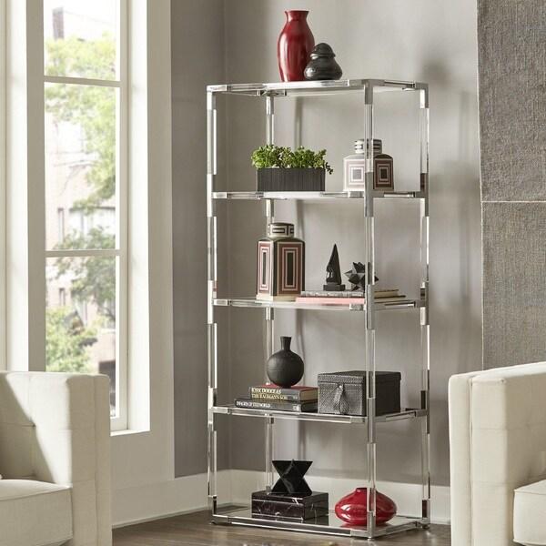 Shop Cyrus Clear Chrome Corner Mirrored Shelf Bookcase by