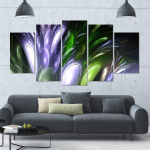 Designart 'Mysterious Psychedelic Flower' Abstract Wall Art Canvas - 60x32 - 5 Panels Diamond Shape