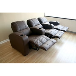 tribecca home eland black bonded leather sofa set vintage mid century modern brown 3-seat recliner theater seating - free ...