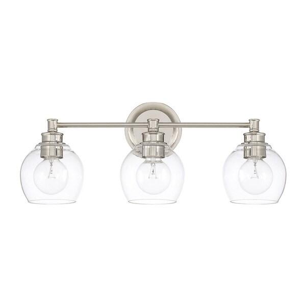 capital lighting mid century collection polished nickel glass steel 3 light bath vanity light