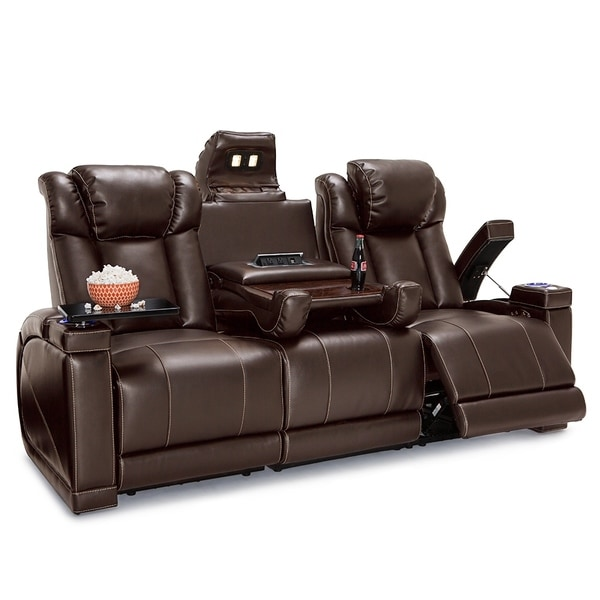 theater chairs with cup holders kitchen table and two shop seatcraft sigma leather gel home seating power recline sofa fold down