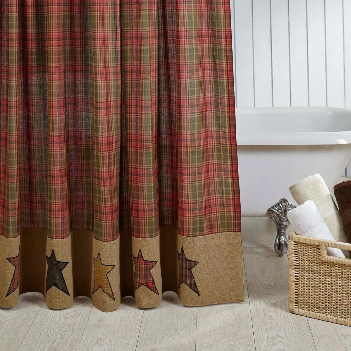 Red Primitive Bath Vhc Stratton Shower Curtain Rod Pocket Cotton Star Appliqued